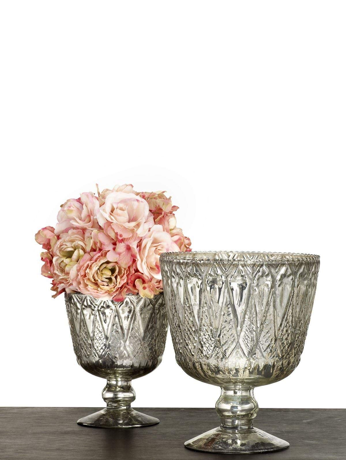 Serene Spaces Living Patterned Silver Glass Coupes, Set of 2 Elegant Vase and Container Measures 5.5'' Diameter X 7'' Tall & 7'' Diameter X 9'' Tall