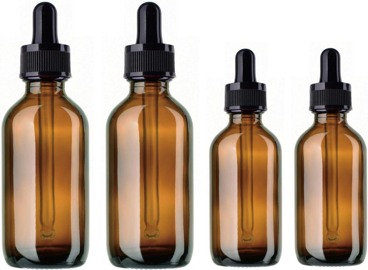 BlueXP4 Pieza Ámbar Botellas 10ml 20ml Marrón Boston de Botellas de Cristal y Pipeta para Aromaterapia Aceites Esenciales y Perfume Medicina Líquidos