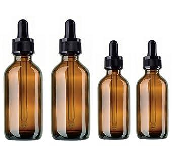 4 Pack Ámbar Botellas BlueXP10ml 20ml Marrón Frasco de Vidrio Ámbar con Cristal y Goma Pipeta