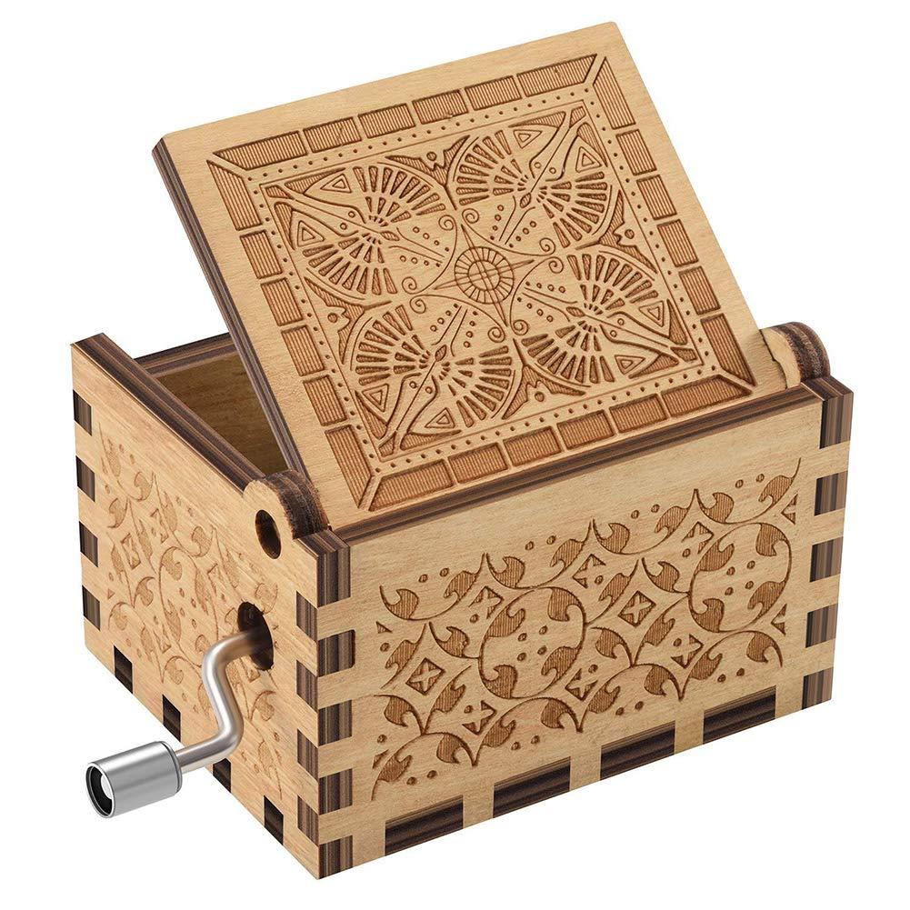 jtxqy Caja de m/úsica de Madera grabada con Forma de manivela para mam/á o pap/á Regalo de cumplea/ños