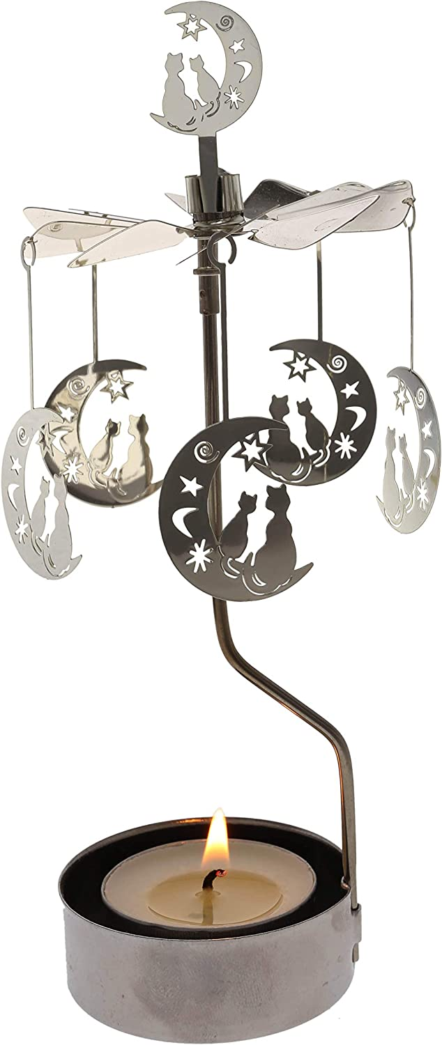 Rotary Candle Holder Spinning Candleholder Metal Small Gift (Moon+cat)