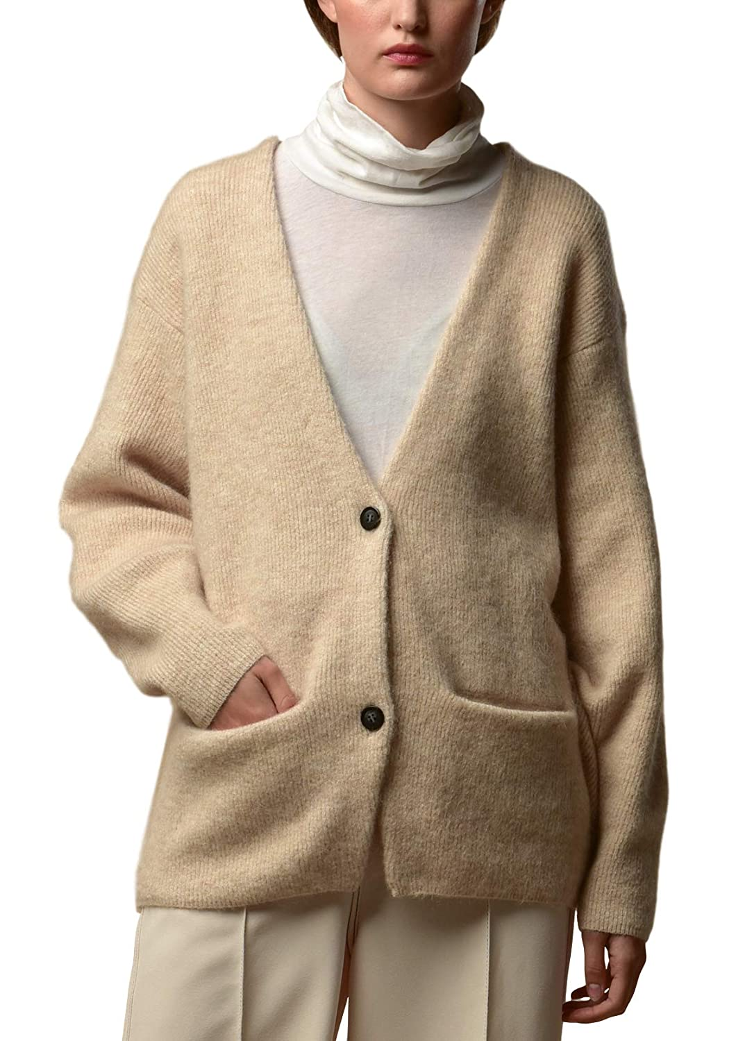Mohair Curved Sleeve  Oatmeal P.CASHMERE NYC Long Pure Cashmere Cardigan