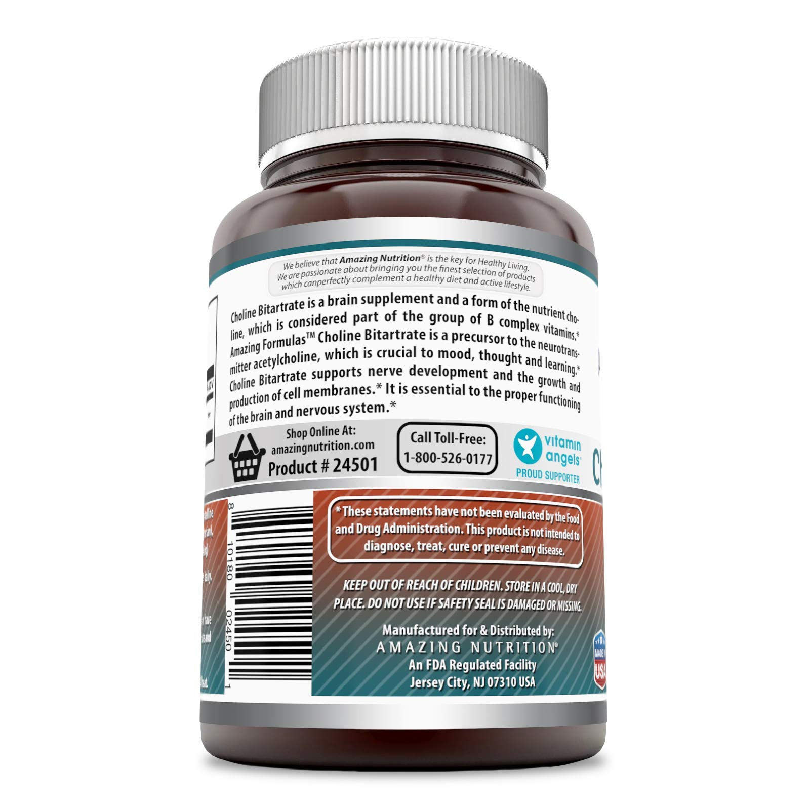 Amazing Formulas Choline Bitartrate - 650 MG, 180 Tablets – Supports Nerve & Brain Health - Promotes Cellular Function - Cognitive Support by Amazing Nutrition (Image #2)