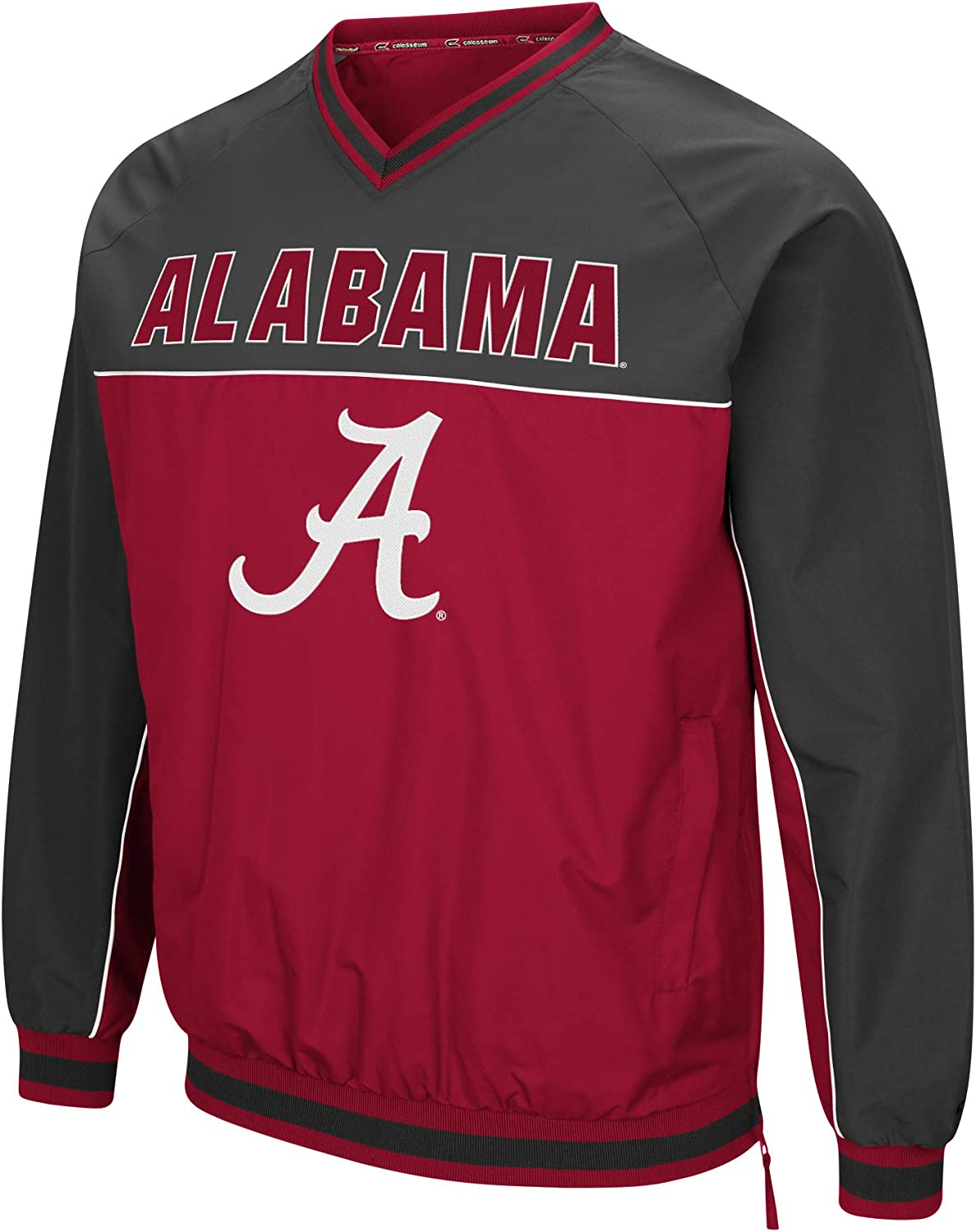 Colosseum Mens NCAA Athletic V-Neck Windbreaker Pullover with Tackle Twill Embroidery