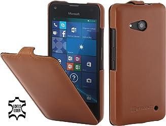 StilGut UltraSlim, Housse en Cuir pour Microsoft Lumia 550, en Cognac