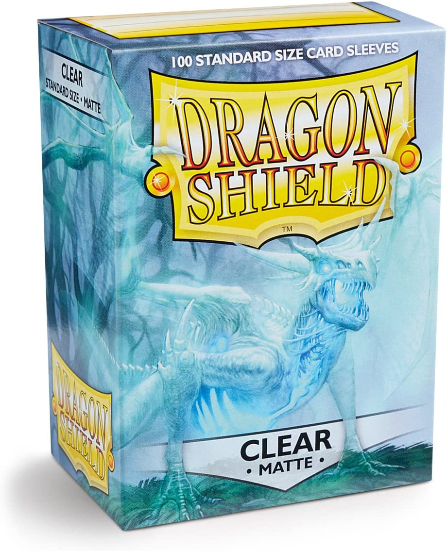 Dragon Shield Matte Clear 100 Deck Protective Sleeves in Box, Standard Size for Magic he Gathering (66x91mm)