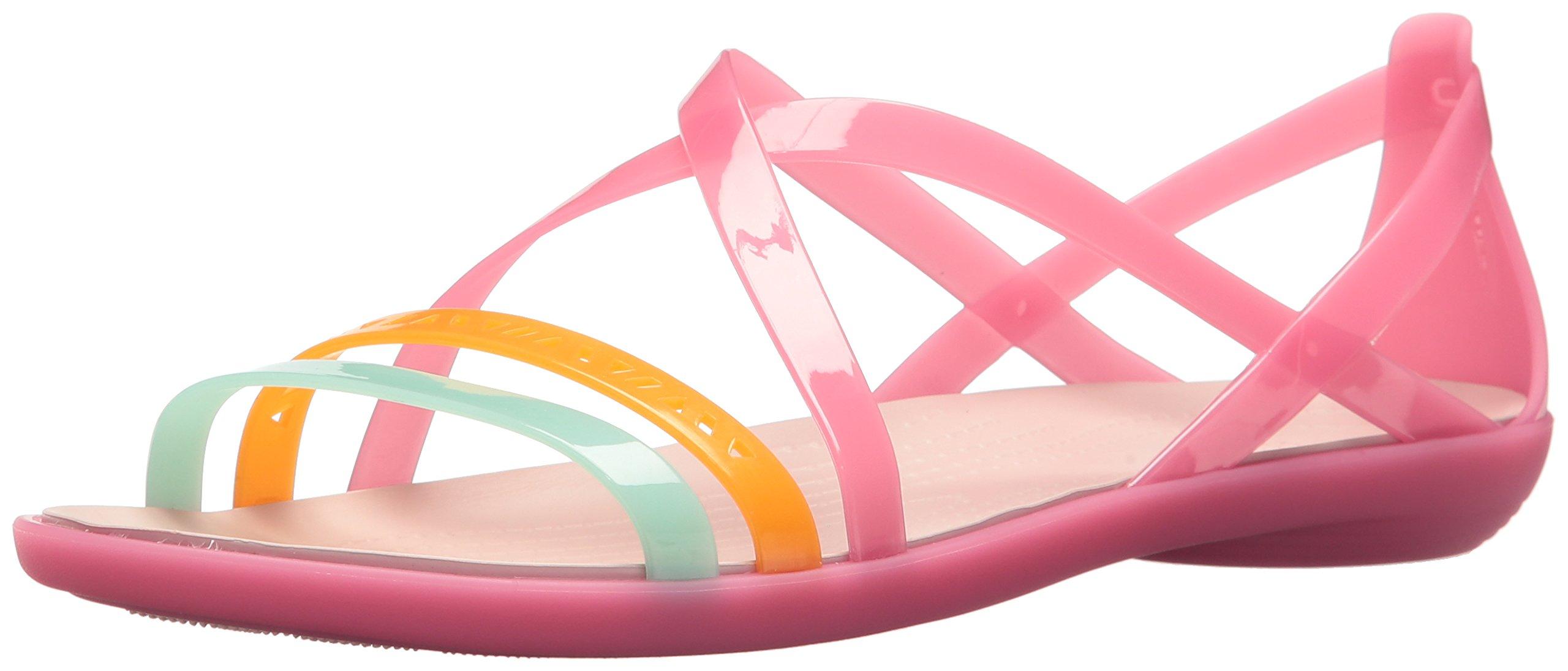 Crocs Women's Isabella Cut Strappy Sandal W Flat, Paradise Pink/Rose dust, 8 M US