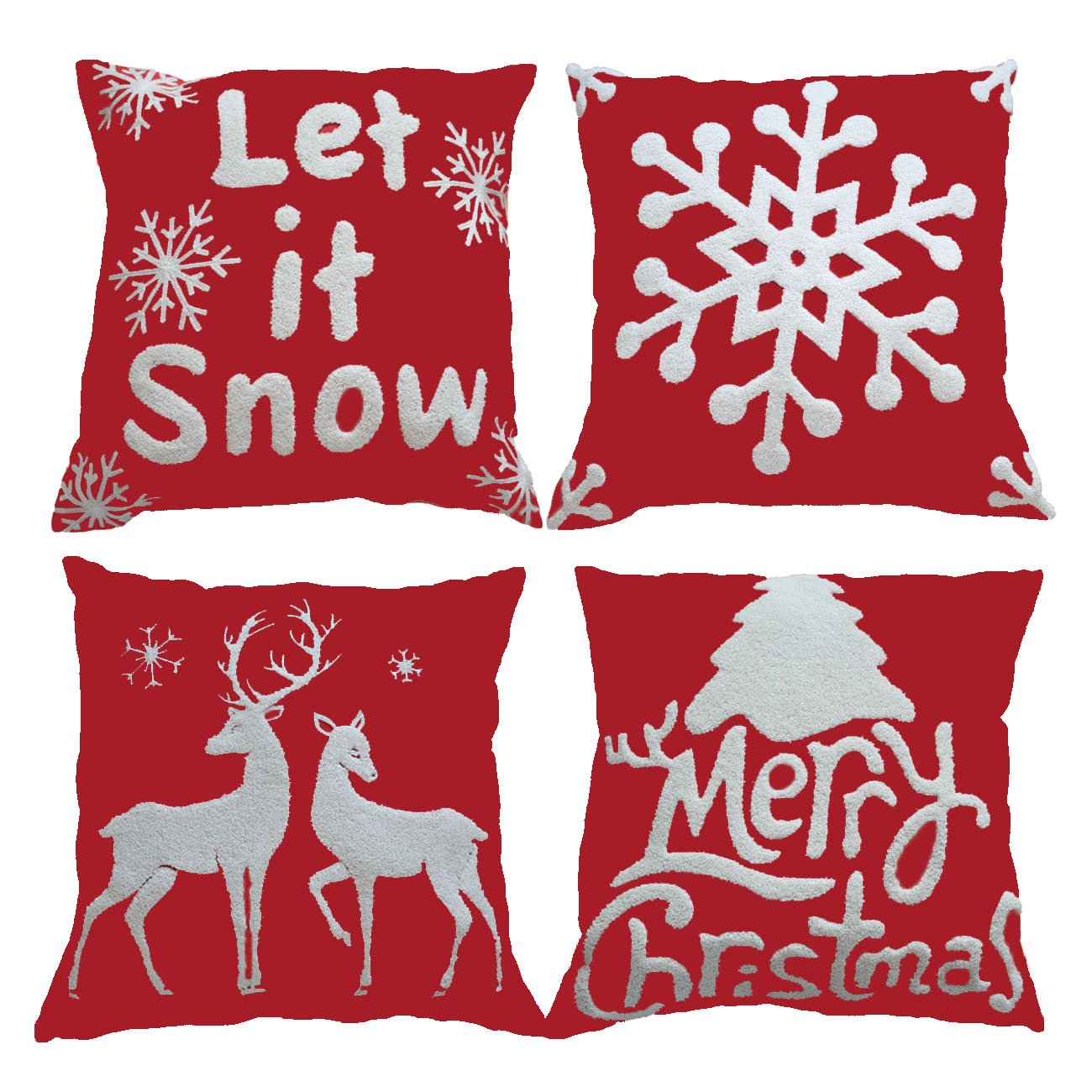 4 Embroidery Throw Pillow Cases 18x18 for Home Car Decorative (Christmas Tree,Christmas Deer,Big Snowflakes,Snowflakes