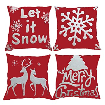 Sykting Christmas Pillow Covers Set Of 4 Embroidery Throw Cases 18x18 For Home Car Decorative