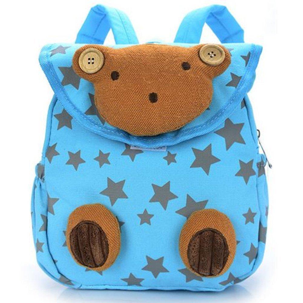 URAQT Baby Kindergarten Baumwolltuch Schulrucksäcke, Kinder Mini Rucksack, Kindergartentasche Backpack, Karikatur Tier Muster für Outdoor/Sports/Camping/Picknick Rucksäcke MYYP-BAG-001-BL