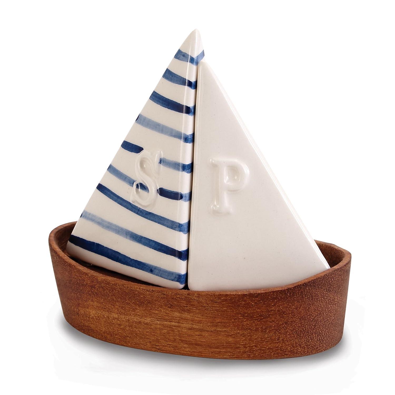 Segelboot mit Blau und Weiß Segel Salz und Pfeffer Shaker Set ...