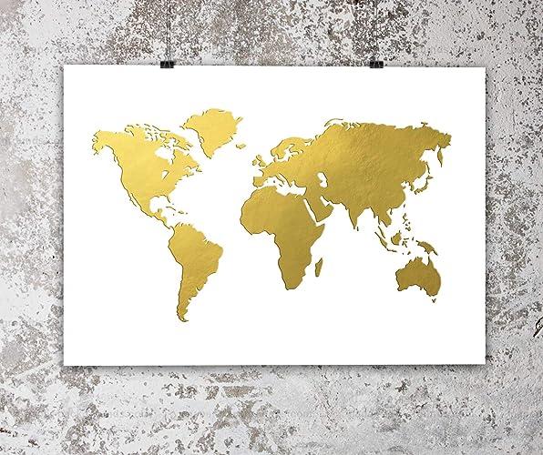 Amazon.com: World Map Gold foil print   Gold Home Decor, 8x10