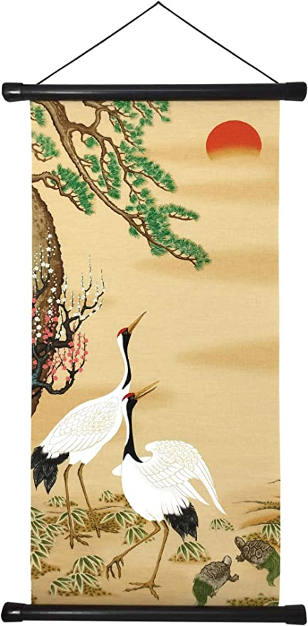 Love Birds Romance Asian Chinese Japanese Canvas Scroll Hanging Wall Art