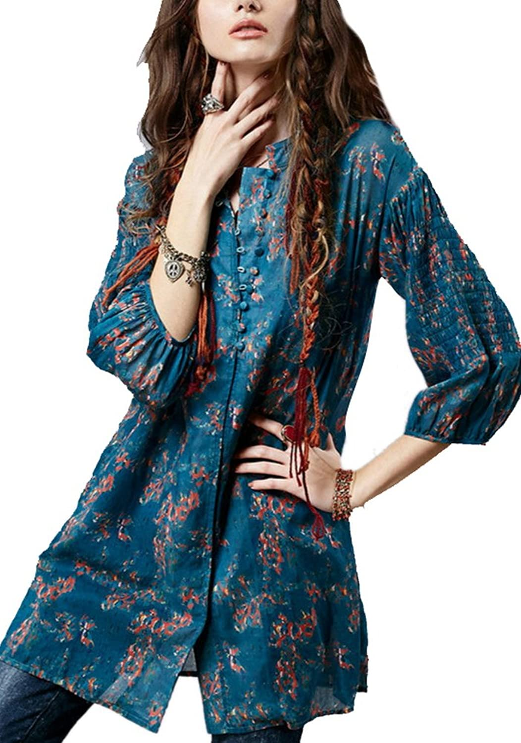 Allbebe Women's Vintage 3/4 Sleeve Linen Cotton Floral Embroidery Blouse