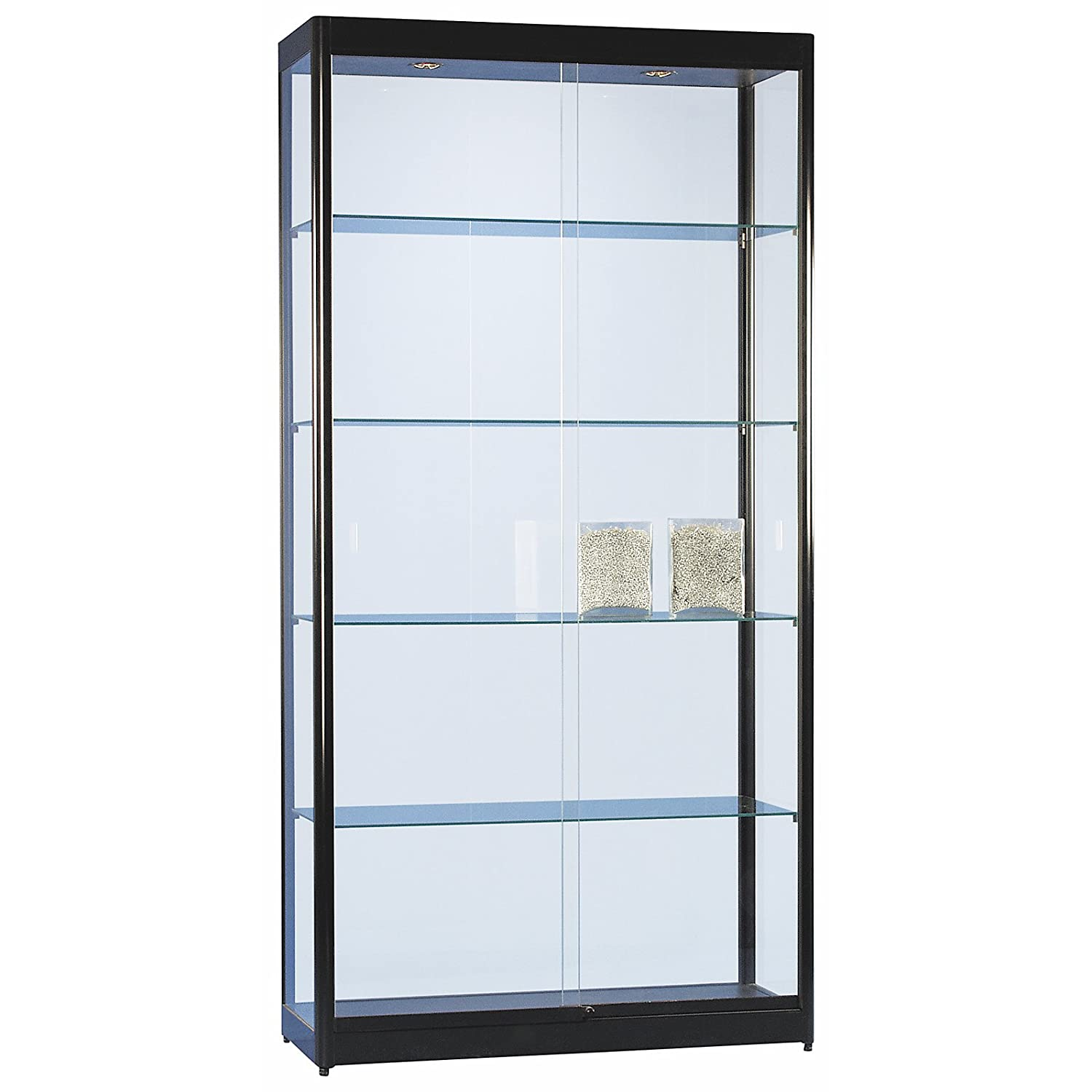 vitrine glasvitrine standvitrine sammlervitrine eco 1000 alu schwarz glas abschlie bar. Black Bedroom Furniture Sets. Home Design Ideas