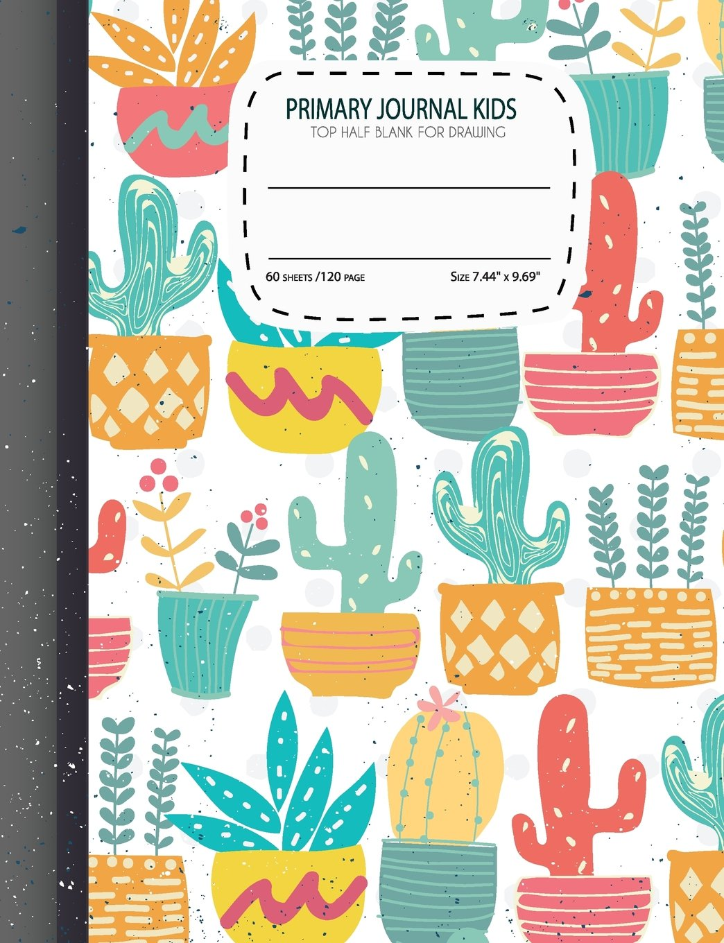Primary Journal Kids Top Half Blank For Drawing Cute Cactus Draw