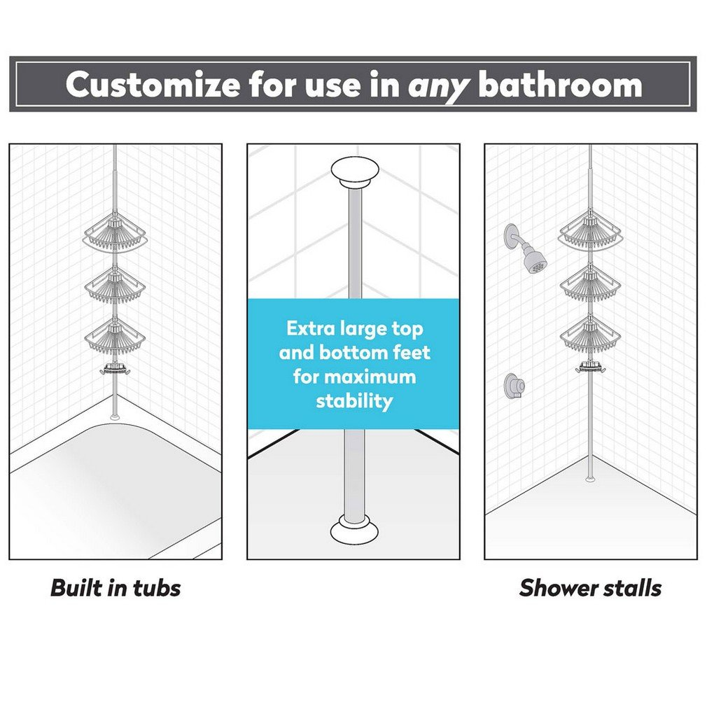 Richards Homewares Laguna Bathtub Shower Tension Corner Pole Caddy - Satin Nickel Stylish Design with 4 Stainless Steel Baskets - Easy Assembly - Extendable To 108''
