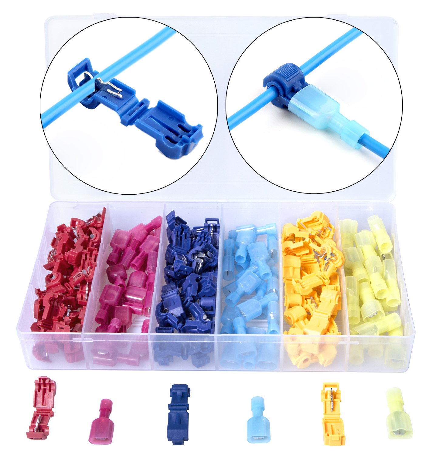 Besteek 120 Pcs/60 Pairs Wire Terminals T-Tap Electrical Crimp Connectors Quick Splice Spade Connectors with Nylon Fully Insulated