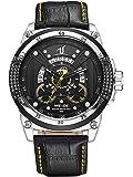 Alienwork Montre quartz XXL Oversized homme sport Cuir jaune noir WD.UV1605-5