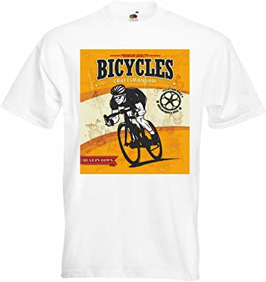 T-Shirt Camiseta Remera Bicicletas Bicicleta de la montaña de la Bici reparación de Ciclo del Paseo en Bicicleta BTT Camisa en Blanco: Amazon.es: Ropa y accesorios