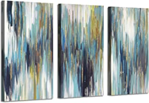 Artistic Path Abstract Texture Canvas Wall Art: Woods Gold Foil Painting Pictures for Wall Decor (26''x16''x3 Panels)