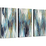 """Abstract Texture canvas wall art: Woods Gold Foil Painting Pictures for Wall Decor (Overall 48""""W x 26""""H,Multi-Sized)"""