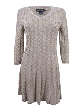 558677788c6 Amazon.com  Jessica Howard Women s Petite Cable-Knit Sweater Dress ...