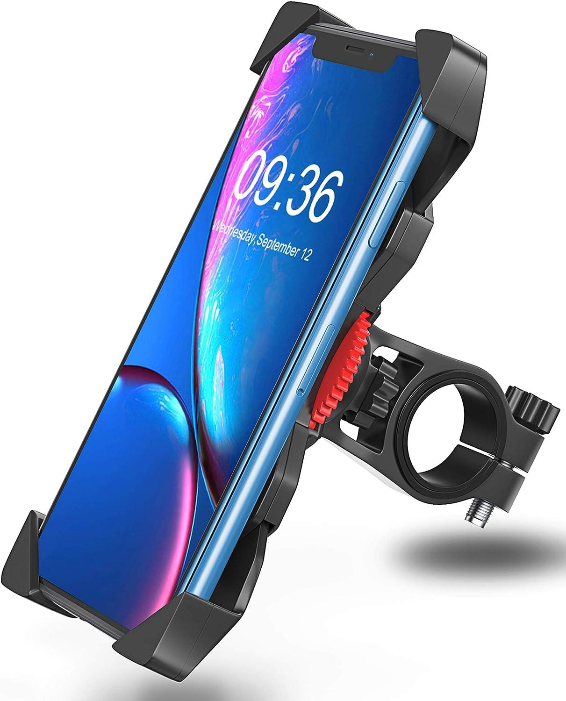 Bovon Soporte Movil Bicicleta, Anti Vibración Soporte Movil Bici Montaña con 360° Rotación para Moto Cochecito, Universal Manillar para iPhone X XS Max XR 8 Plus 7 6s Samsung y 3.5