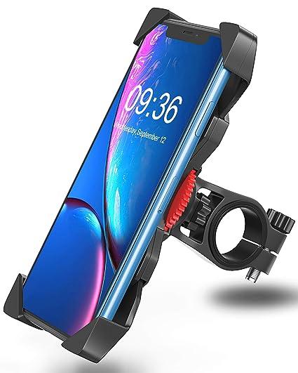 Bovon Soporte Movil Bicicleta, Anti Vibración Soporte Movil Bici Montaña con 360° Rotación para Moto Cochecito, Universal Manillar para iPhone X XS ...