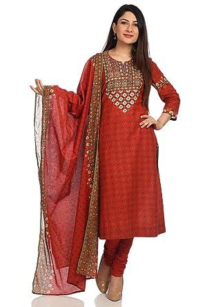 5e2d9ce43792 Amazon.com  BIBA Women s Rust Cotton Salwar Kameez Dupatta Size 42 ...