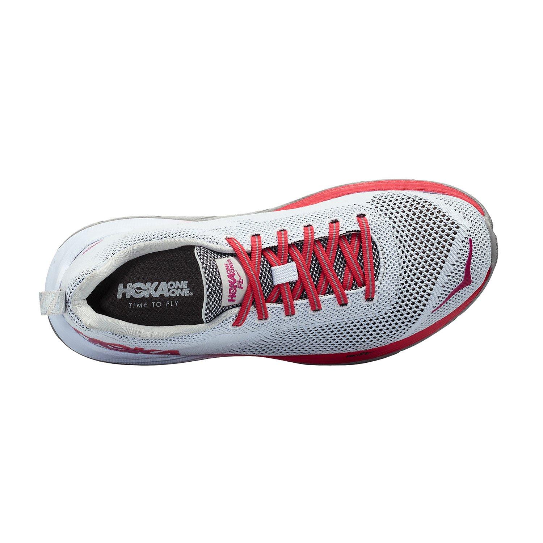HOKA ONE ONE Women's Mach Running Shoe B071VVMWKD 8.5 B(M) US|White/Hibiscus