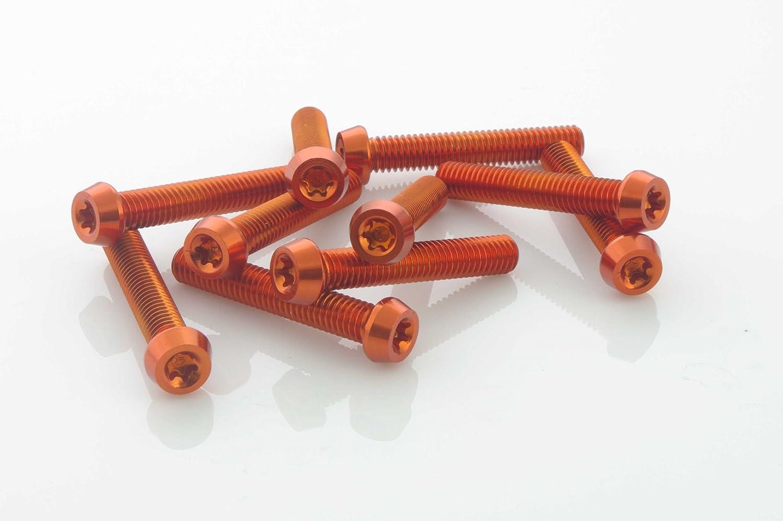10 piece Aluminium Screws 7075er m6x16 with t25 Torx aluschrauben Orange