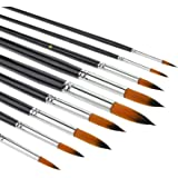Watercolour brushes-9Pcs Round Tipped Detail Paint Brushes with Long Handle for Watercolor, Acrylic Liner Painting, Oil…