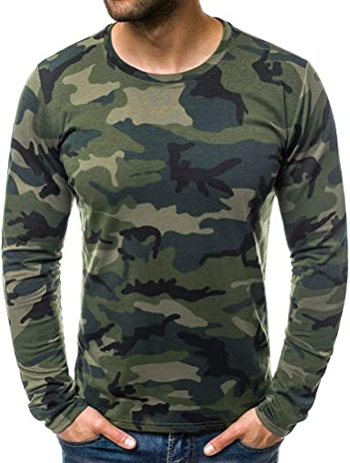 Men/'s Camo Long Sleeve T-Shirt Tops Crew Neck Casual Muscle Slim Fit Blouse Tees