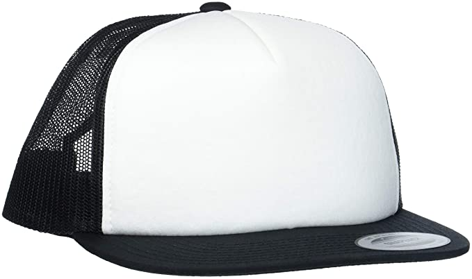 Flexfit Foam Trucker with White Front Gorra, Negro y Blanco, Talla ...