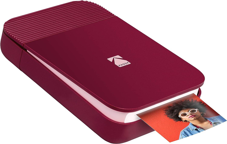 KODAK Smile Impresora digital instantánea – Mini impresora desplegable con Bluetooth para iOS y Android – Edite, imprima y comparta con la aplicación Smile. 2x3 Papel ZINK – Rojo