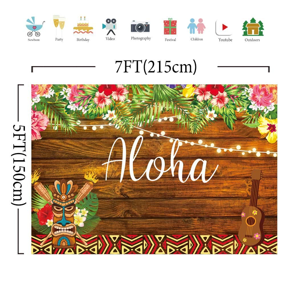 Allenjoy 7x5ft Summer Aloha Luau Party Backdrop Tropical Hawaiian Flowers  Wooden Sculpture Photography Background Sea Palm Birthday Musical Party