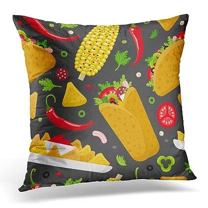 Burrito Style Pillowcase Mesmerizing Amazon Sdamase Throw Pillow Cover Cartoon Mexican Food Burrito