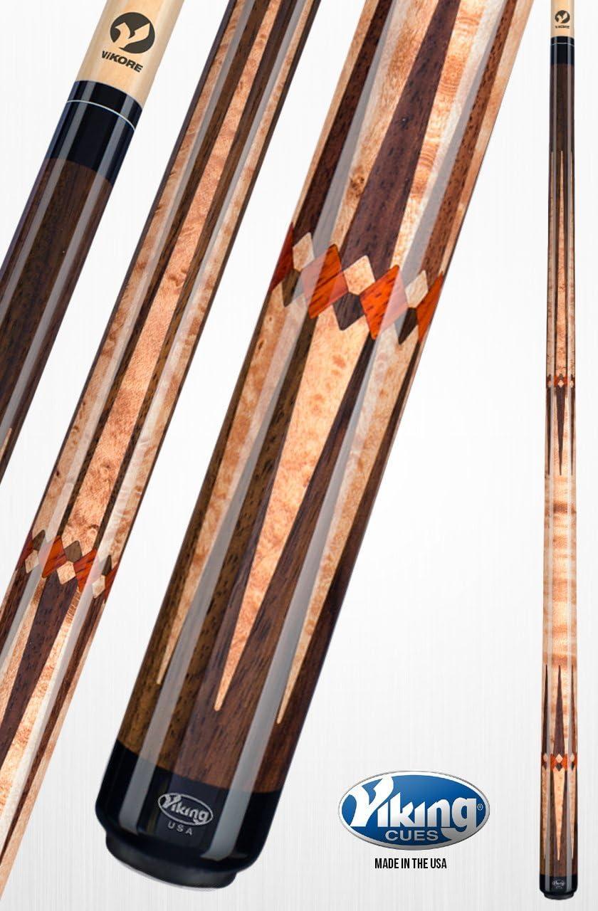 Viking A811 taco de billar (48, madera de palisandro, incrustaciones de Premium con nueva Guinea de Birdseye bermellón Caqui mancha Oriental madera de palisandro Premium Birdseye liberación rápida conjunta vikore eje 18 –