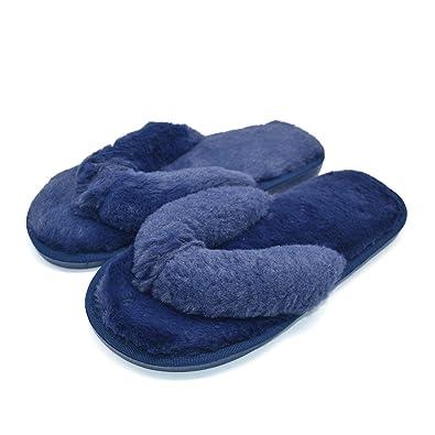 COFACE Damen Süßes Bett Hausschuh Warmer Plüschfell Slipper Baumwolle Pantoffel Rutschfeste Schuhe Für Herbst/Winter in 5 Farben,Rot-36/37