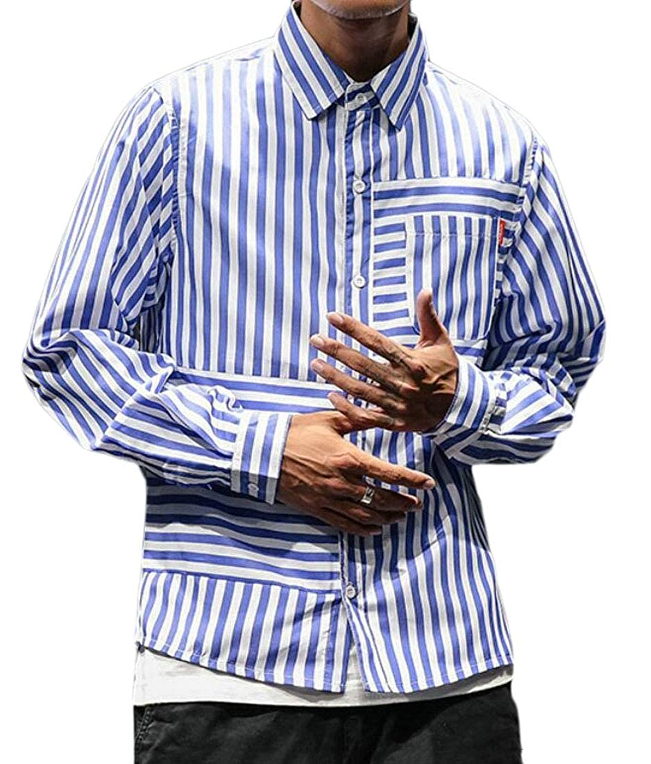 Jotebriyo Mens Casual Relaxed Fit Long Sleeve Stripe Print Button Up Dress Work Shirt