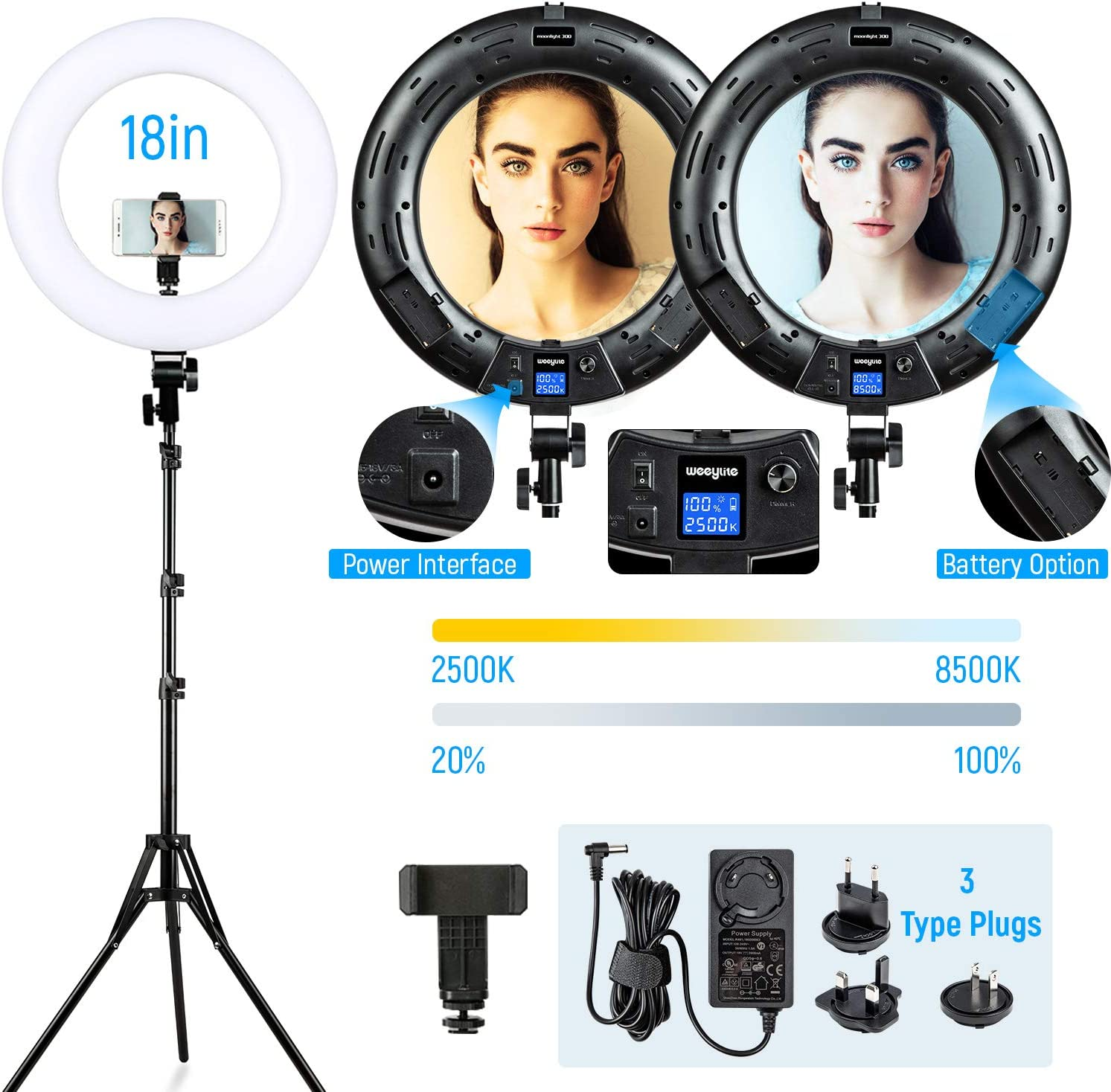 """Ring Light with Stand Phone Holder, 18"""" Bi-Color Dimmable 2500K-8500K LED Ring Light Makeup Beauty CRI≥95 with LCD Panel 3 Type Plugs DC Adapter for YouTube Video Livestream Selfie Portrait Shooting"""