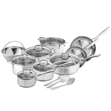 Stainless Steel Pots and Pans Cookware, 17 Piece Set - Non Stick & Oven Safe Kitchenware with Cooking Utensils - Silver