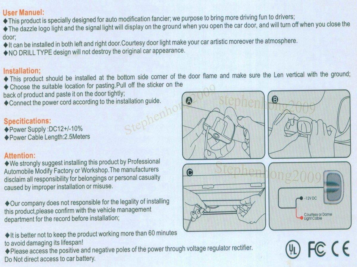 Amazon.com: 2 X 5th Gen LED car door Ghost Shadow laser projector ...