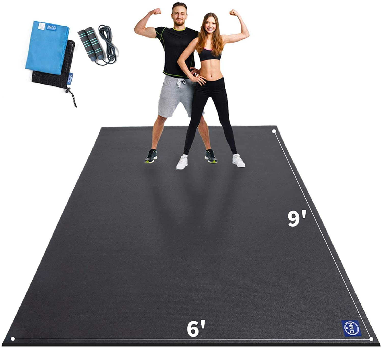 Extra Large Exercise Mat 9' x 6' x 7mm, High-Density Workout Mats for Home Gym Flooring, Non-Slip, Extra Thick Durable Cardio Mat, Ideal for Plyo, MMA, Jump Rope - Shoe Friendly