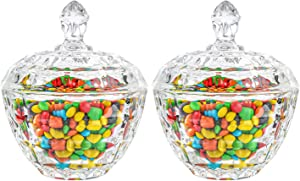 ComSaf Glass Candy Dish with Lid Decorative Candy Bowl, Crystal Covered Candy Jar for Home Office Desk, Set of 2 (Diameter:4.5 Inch)