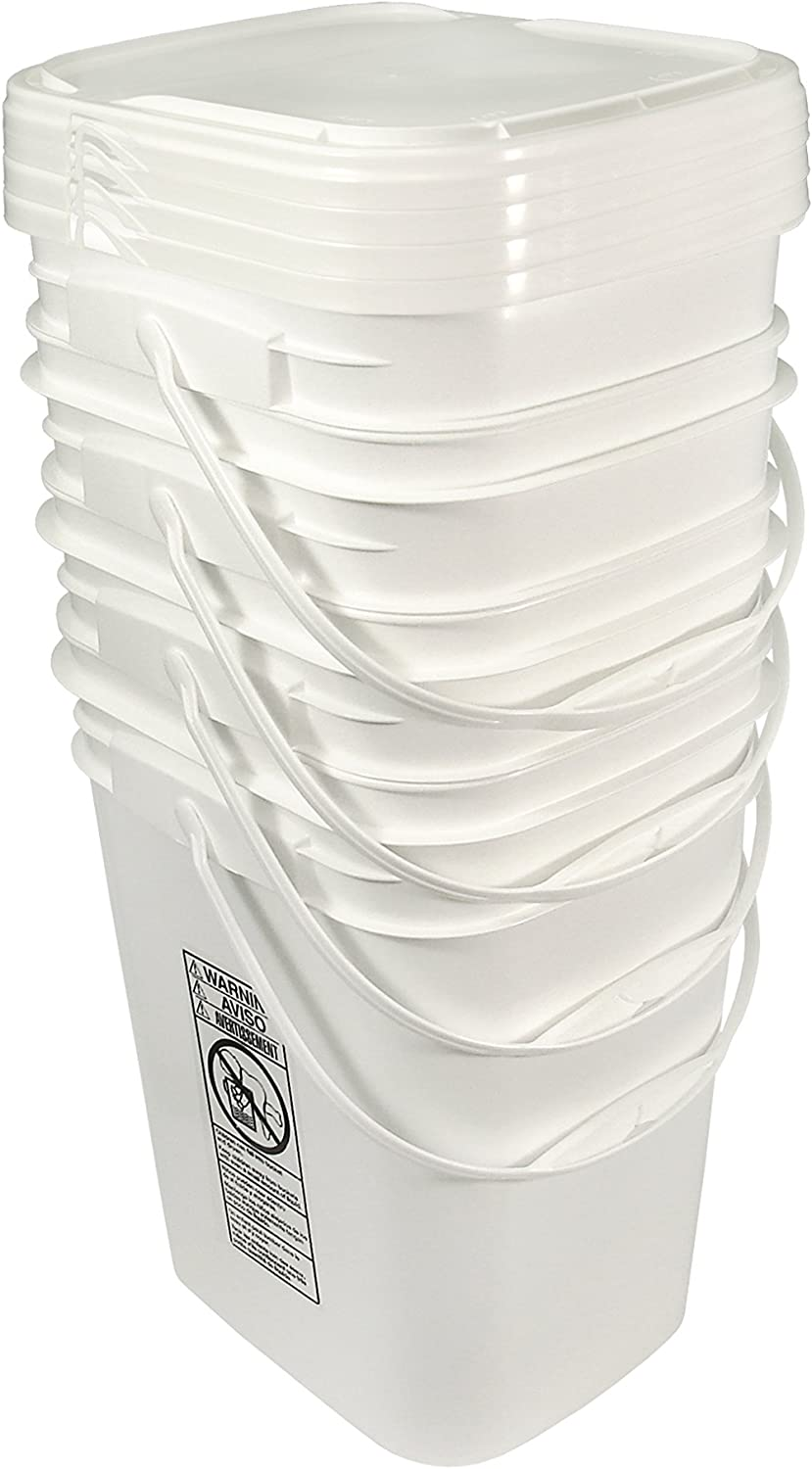 5.3 Gallon White Rectangular Bucket/Pail with Hinged Snap Lid, 4 Pack