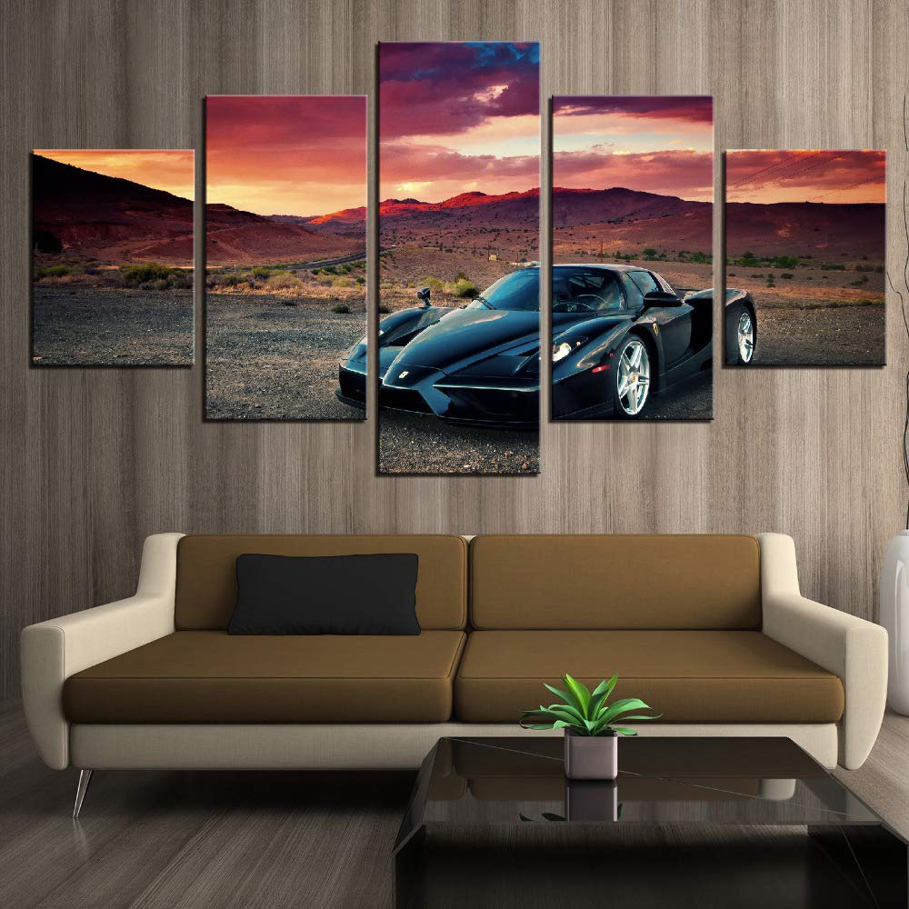 AMOHart Impresiones de la Lona 5 Piezas de Coche Deportivo Ferrari Enzo y Sunset Poster Wall Art Home Decor Wall Artwork Cuadro sobre Lienzo Marco Nuevo