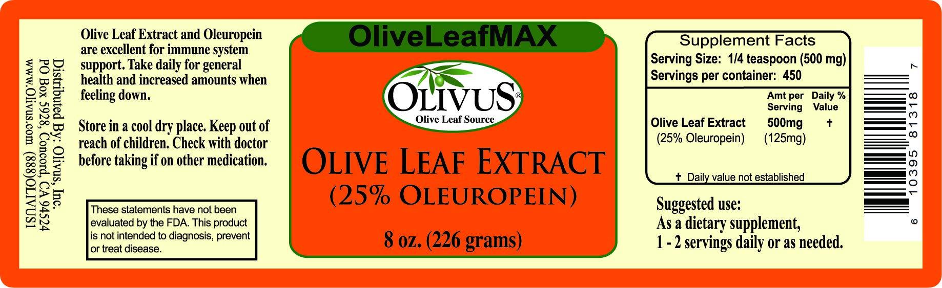 OliveLeafMAX (25% Oleuropein) Olive Leaf Extract - Bulk Powder (Unencapsulated) - 8 Ounce Jar