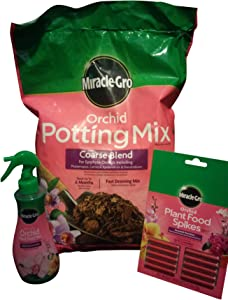 Miracle-Gro Bundle Kit Orchid Potting Mix, 8-Quarts Orchid Plant Food Mist, Orchid Plant Food Spikes 10-Pack
